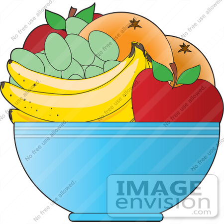 450x450 Clipart Of A Fruit Bowl With Apples, Oranges, Green Grapes