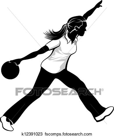 392x470 Clipart Of Female Bowler K12391023