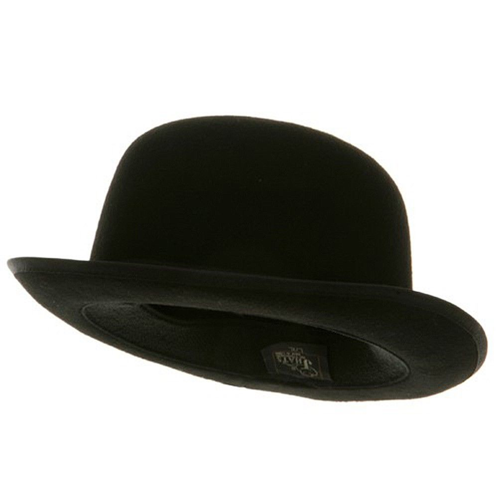 1000x1000 Adult 23 Inch Black Wool Derby Bowler Hat With Black Satin Band Ebay
