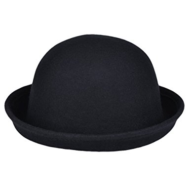 385x385 Vbiger Women Woolen Roll Up Brim Fedora Bowler Hat (Black)