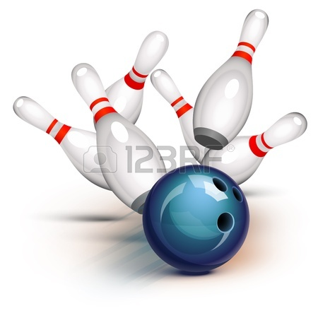 450x450 A Red Bowling Ball Crashing Into The Pins Royalty Free Cliparts
