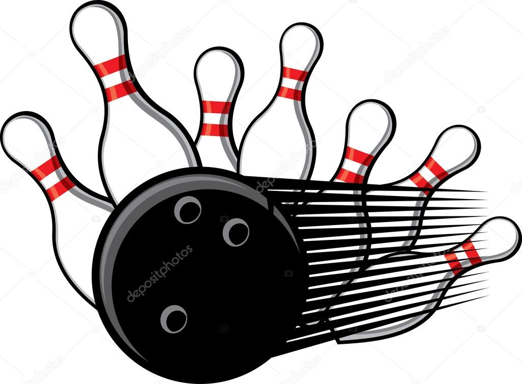 1024x754 Bowling Ball Crashing Into The Pins Stock Vector