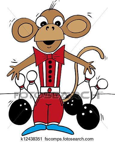 383x470 Clipart Of Bowling Monkey K12438351