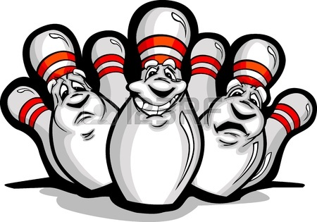 450x315 Cartoon Image Of A Happy Smiling Bowling Pins Royalty Free