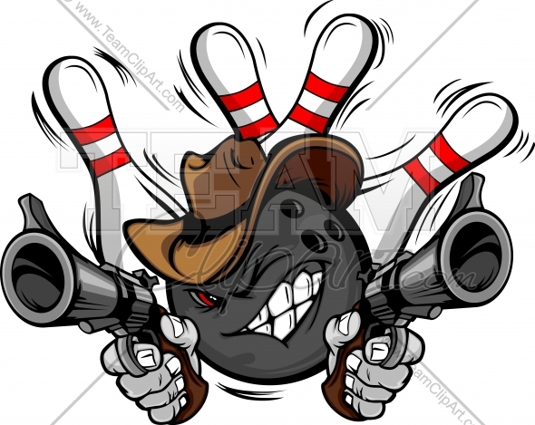 590x469 Cowboy Bowling Ball Cartoon Shootout