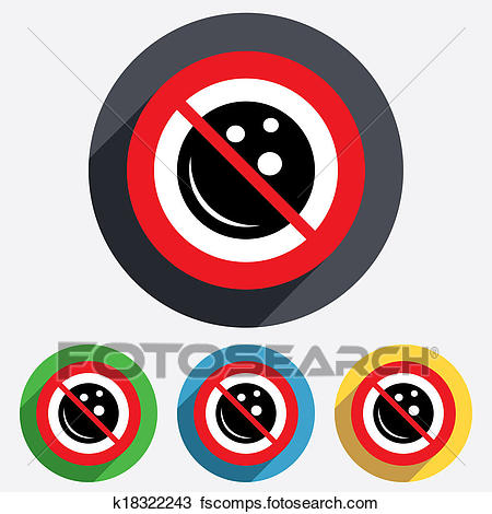 450x470 Drawing of No Bowling ball sign icon. Bowl symbol. k18322243