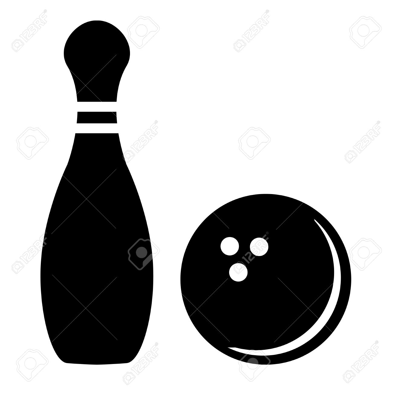 1300x1300 Silhouette Of Bowling Pins And Bowling Ball Royalty Free Cliparts