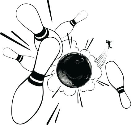 424x405 Bowling Pins Clipart Pin And Bowling Ball Black Color Icon