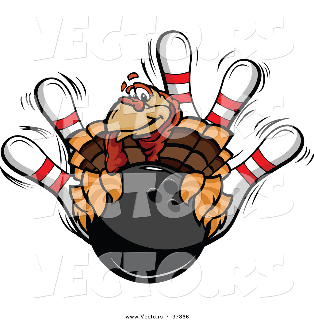 1024x1044 Vector Of A Cartoon Turkey Mascot With A Bowling Ball And Pins By