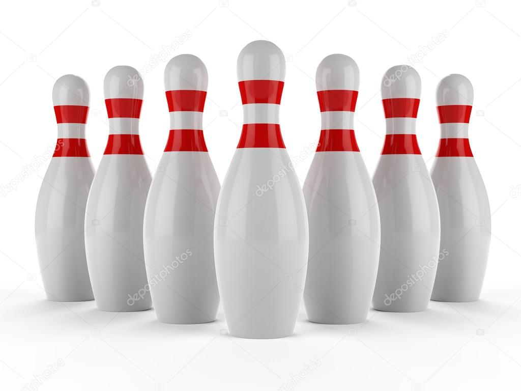 1024x768 3d Bowling Pins On White Background Stock Photo Yavuzunlu
