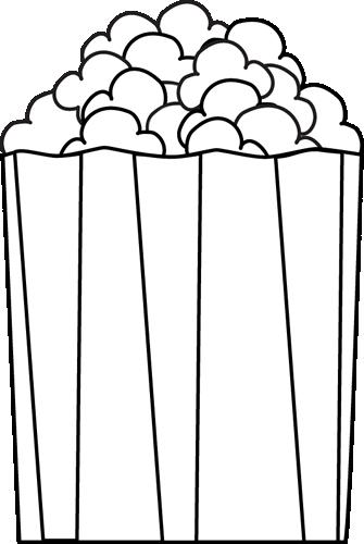 335x500 Black And White Popcorn Clip Art