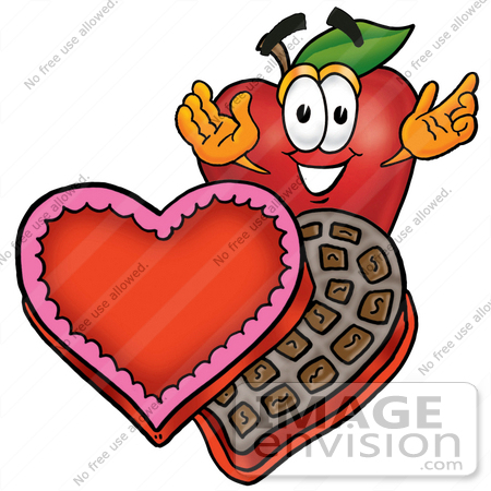 450x450 Clip Art Graphic Of A Red Apple Cartoon Character With An Open Box