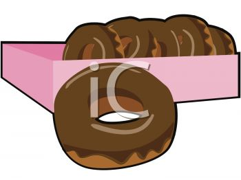 350x262 Picture Of A Box Of Chocolate Donuts In A Vector Clip Art