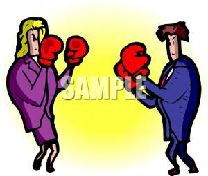 300x255 Couple With Boxing Gloves, Ready To Fight Clip Art Image