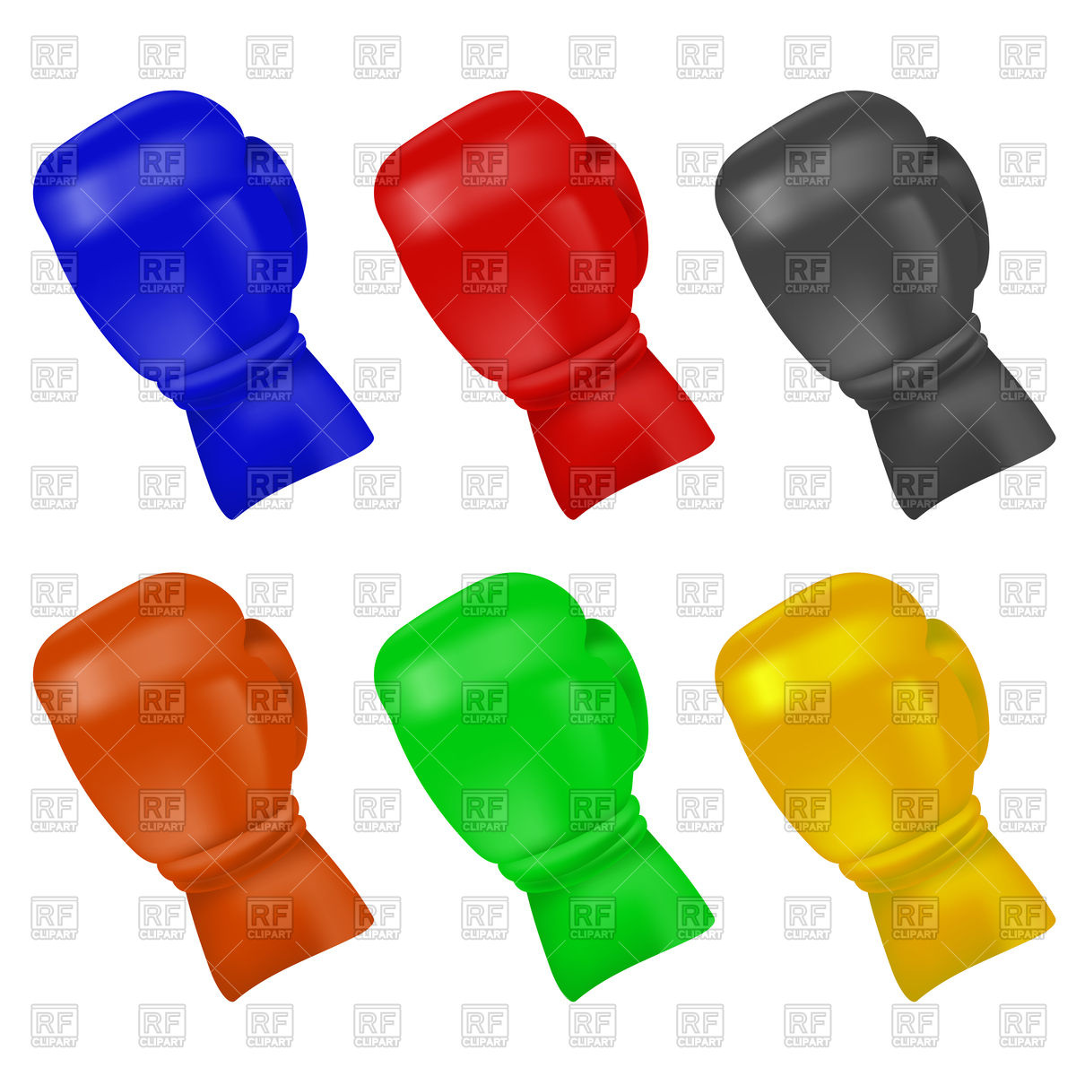 1200x1200 Set Of Colorful Boxing Gloves Royalty Free Vector Clip Art Image