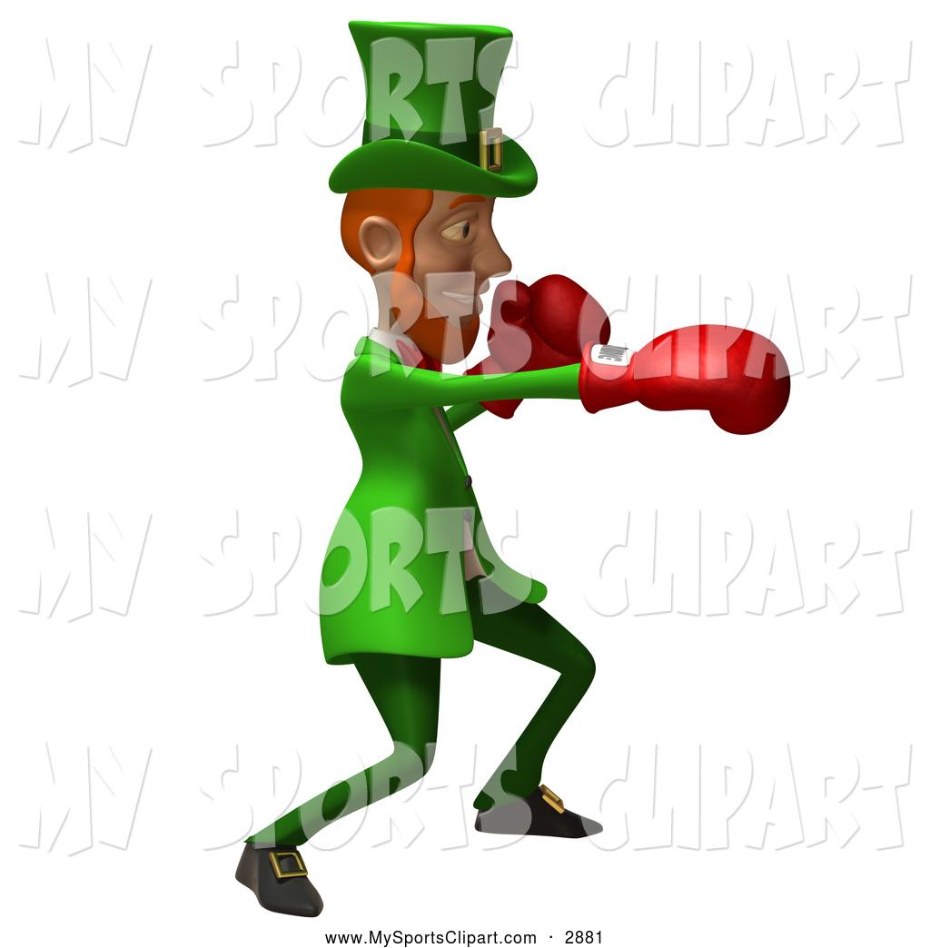 1024x1044 Sports Clip Art Of A 3d Leprechaun Boxing By Julos
