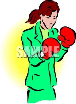 256x350 Tough Businesswoman Wearing Boxing Gloves
