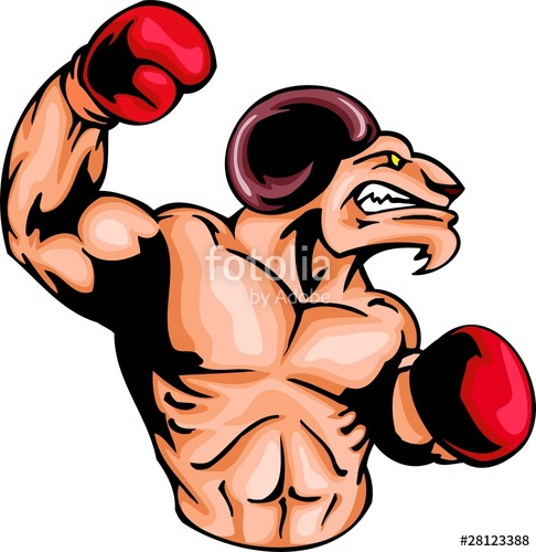 486x500 Enraged Ram With A Boxing Gloves. Sport Mascot Animals. Stock