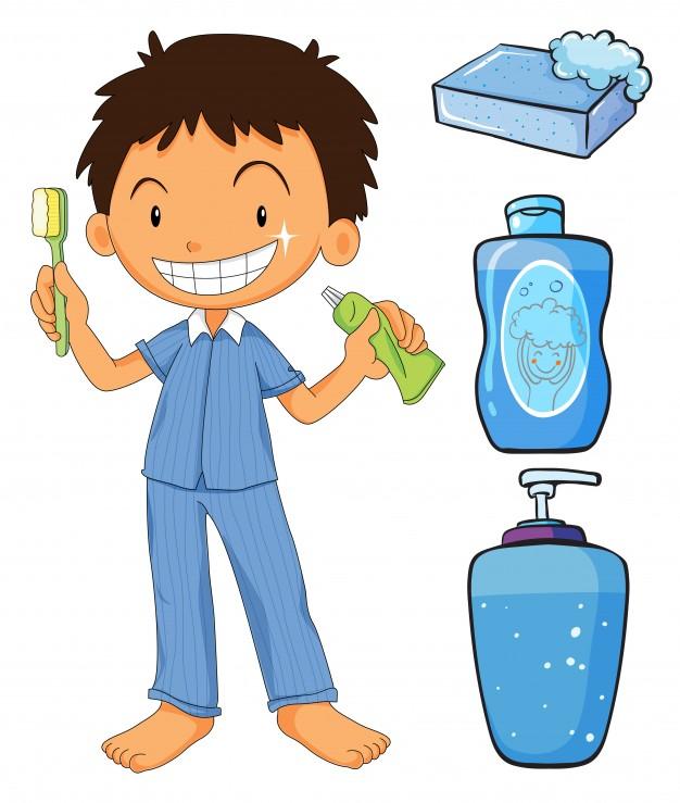 626x739 Boy In Pajamas Brushing Teeth Illustration Vector Free Download