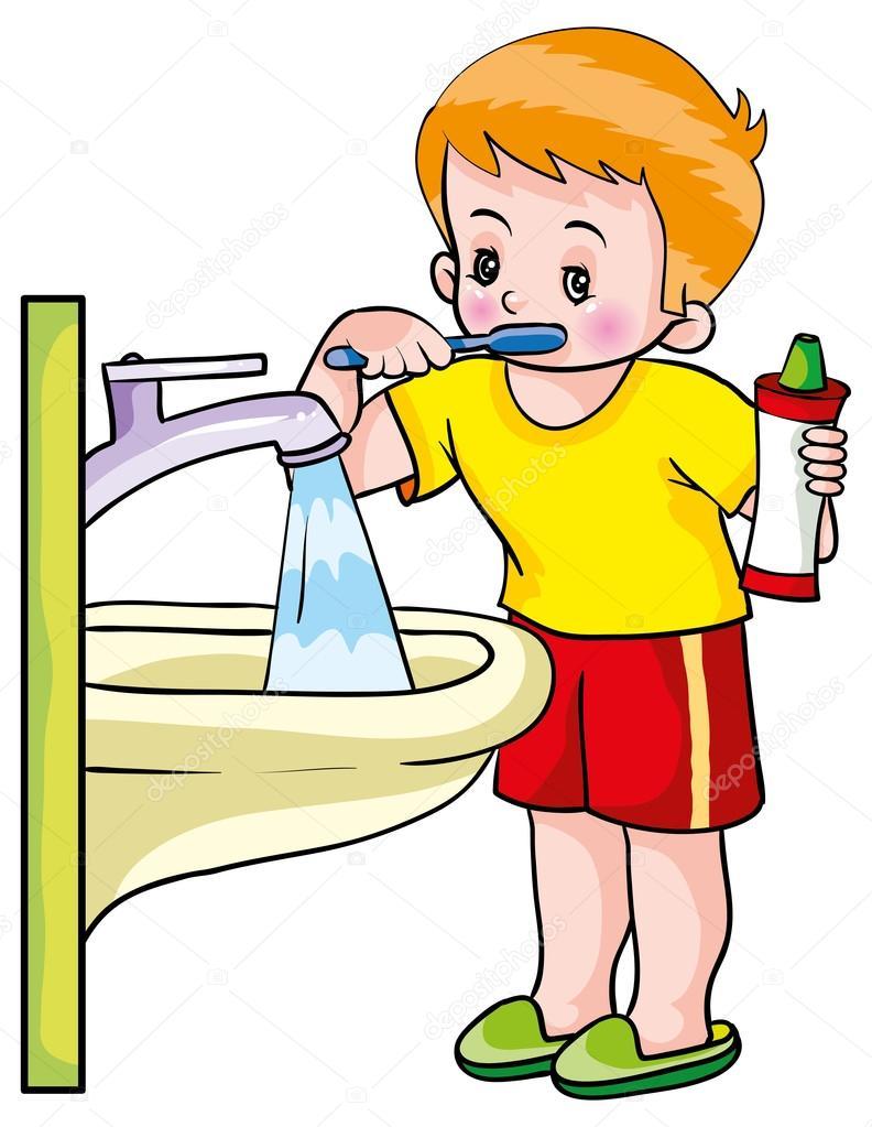 792x1023 Boy Washing Teeth Stock Vector Kopirin