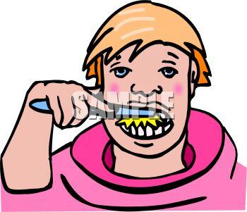350x301 Boy Brushing His Teeth