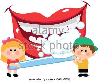 384x320 Boy And Girl Brushing Teeth Illustration Stock Vector Art