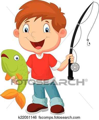 387x470 Clip Art Of Little Boy Fishing K22051146