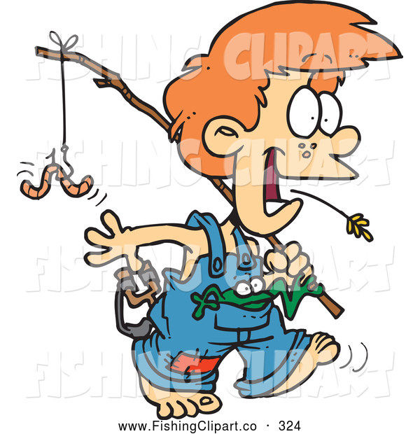 600x620 Clip Art Of A Cheerful Cartoon Country Boy Carrying A Fishing Pole