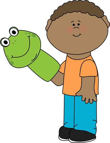 384x500 Little Boy Playing With A Puppet Clip Art