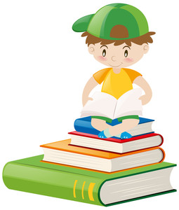 255x300 Boy Reading Math Book Illustration Royalty Free Stock Image