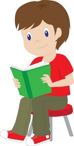 152x300 Brunette Boy Reading Clipart