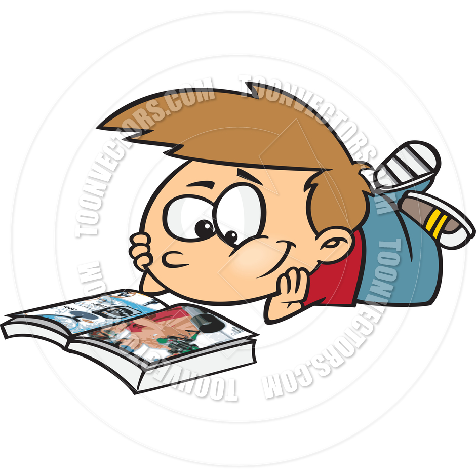 940x940 Cartoon Boy Reading A Book By Ron Leishman Toon Vectors Eps