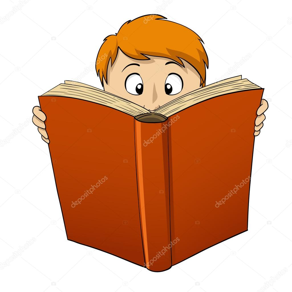 1024x1024 Cartoon Boy Reading Big Book Stock Vector Acidburn