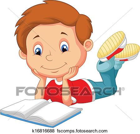450x433 Clip Art Of Cute Boy Cartoon Reading Book K16816688