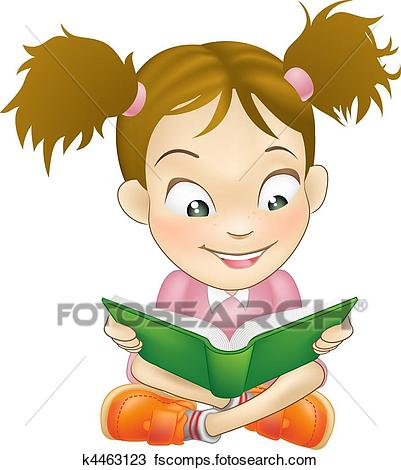 401x470 Clipart Of Illustration Young Girl Reading Book K4463123