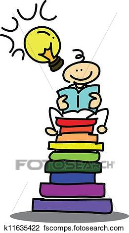 261x470 Clipart Of Hand Drawn Cartoon Dream Boy Reading Book K11635422