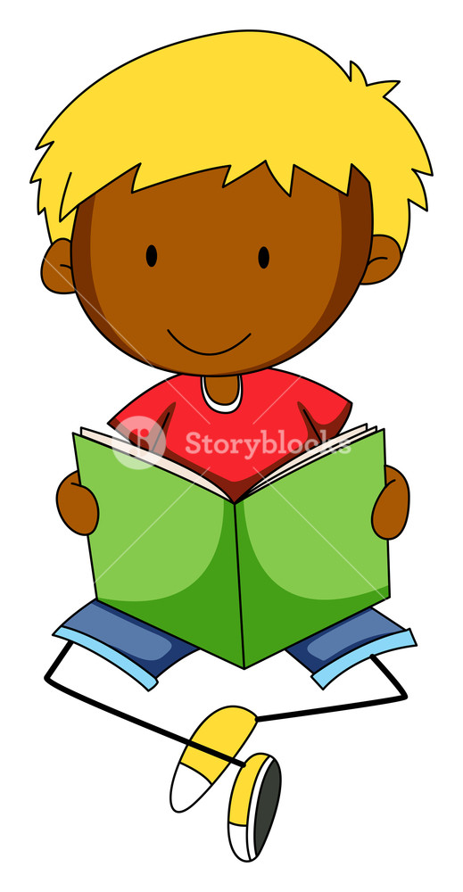 519x1000 Closeup Happy Boy Reading Book Alone Royalty Free Stock Image