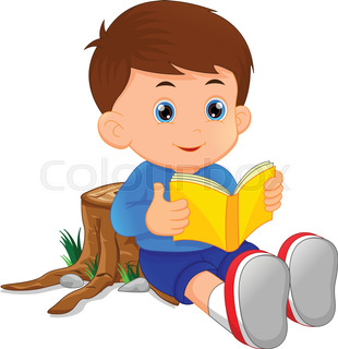 310x320 Illustration Of Cute Boy Reading Books Stock Vector Colourbox