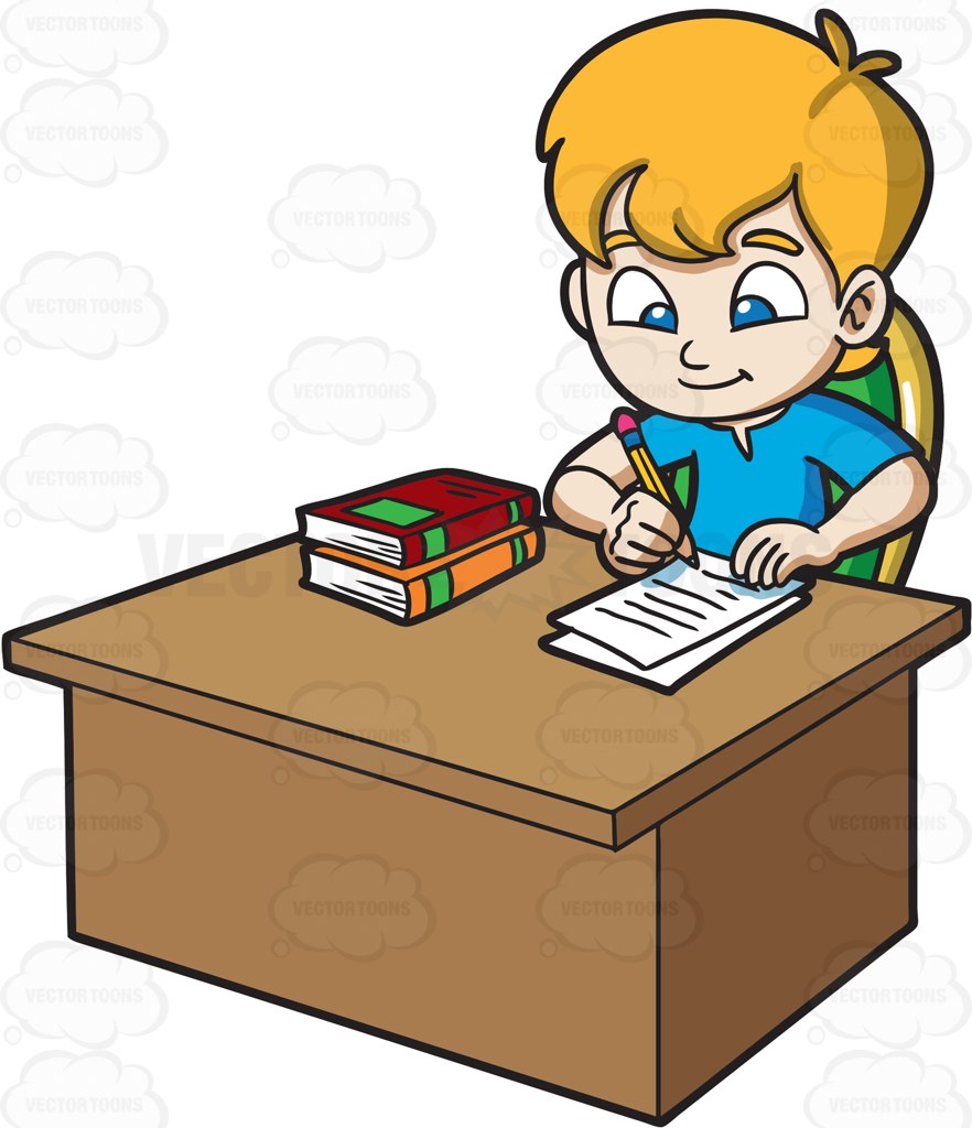 882x1024 A Boy Taking Down Notes From The Book He Has Read Cartoon Clipart