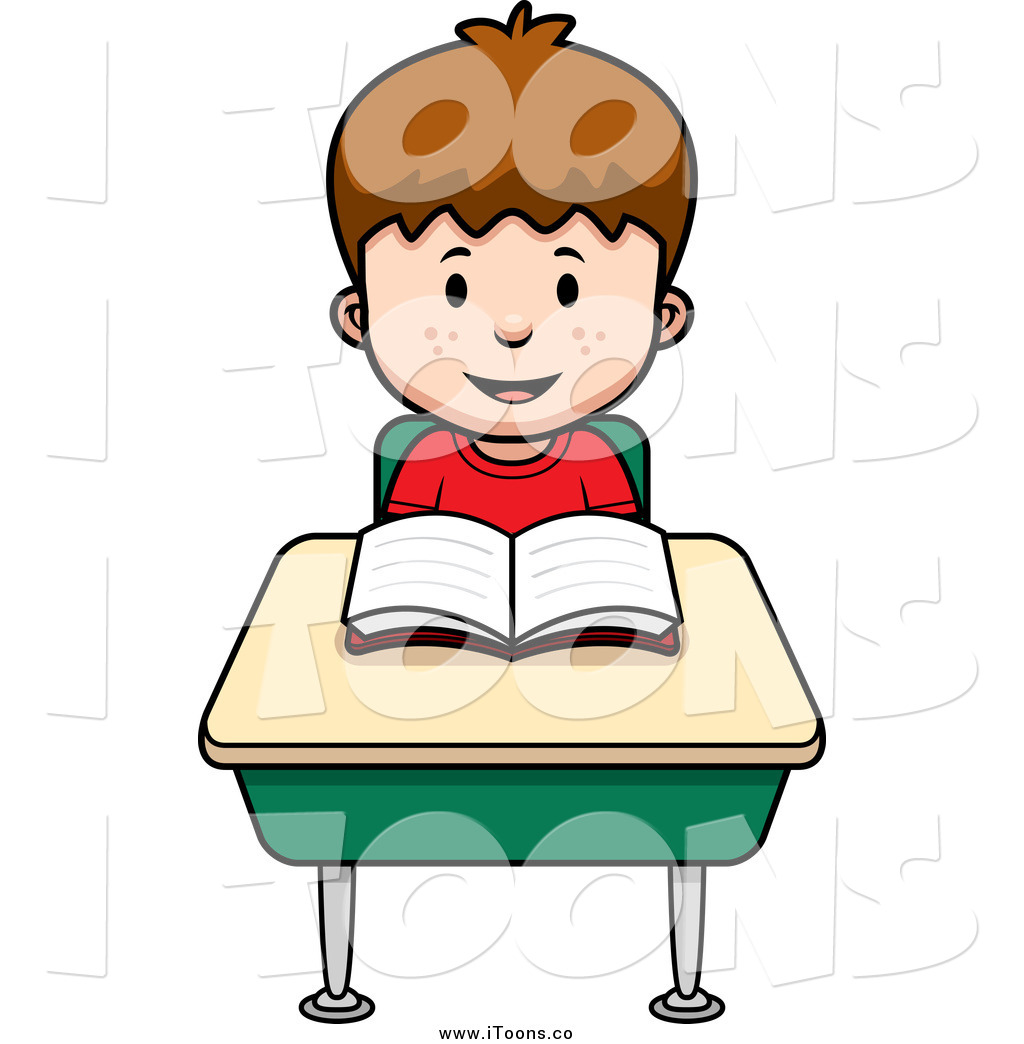 1024x1044 Vector Clip Art Of A Brunette White School Boy Reading