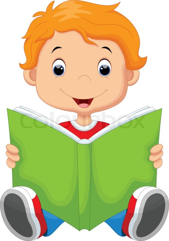 562x800 Vector Illustration Of Kid Reading A Book Stock Vector Colourbox