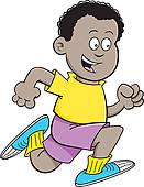 131x170 Clip Art Of Cartoon African Boy Running K14699428