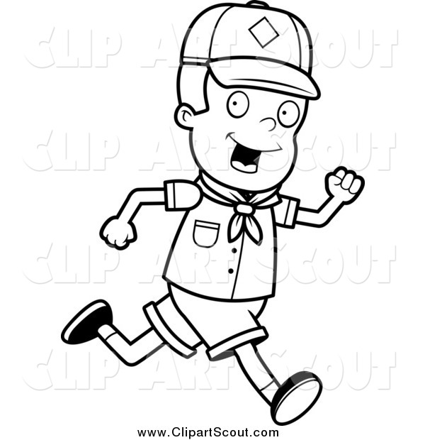 600x620 Clipart Of A Black And White Happy Cub Scout Boy Running By Cory