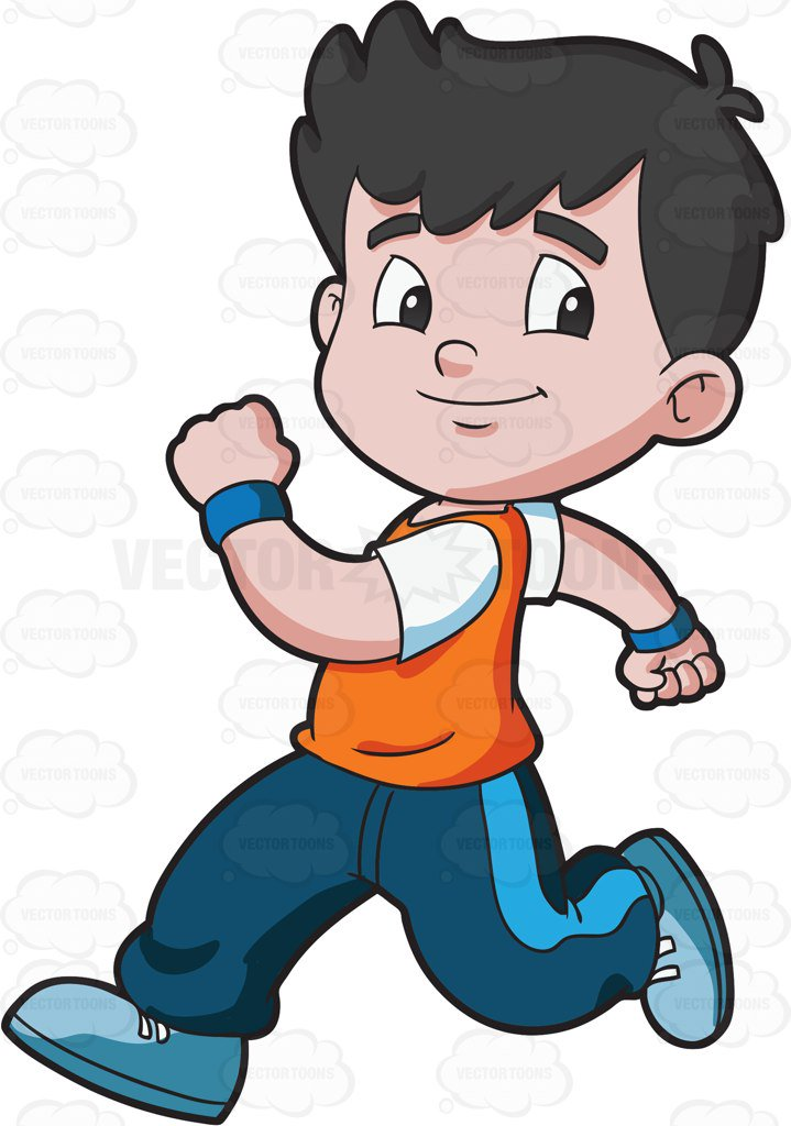 719x1024 A Boy Running Confidently Cartoon Clipart