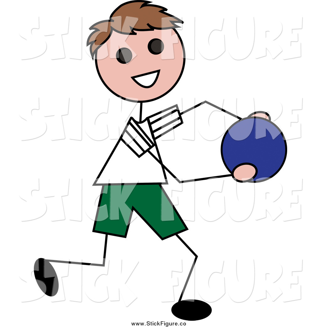 1024x1044 Clip Art Of A Happy White Brunette Stick Boy Running With A Ball