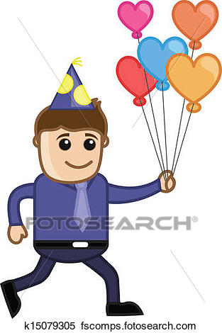 313x470 Clipart Of Boy Running With Heart Balloons K15079305
