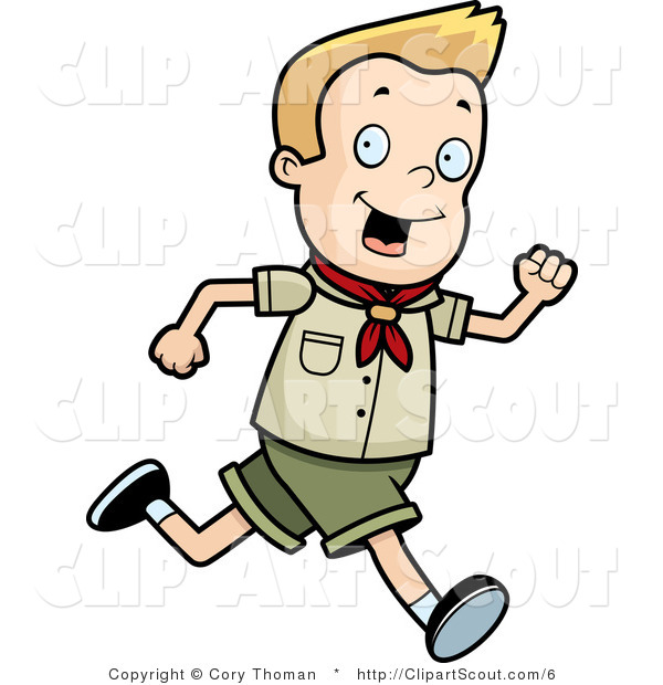 600x620 Clipart Of A Blond Scout Boy Running By Cory Thoman