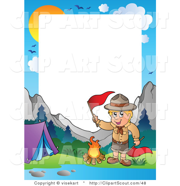 600x620 Clipart Of A Boy Scout Camping In The Wilderness Border By