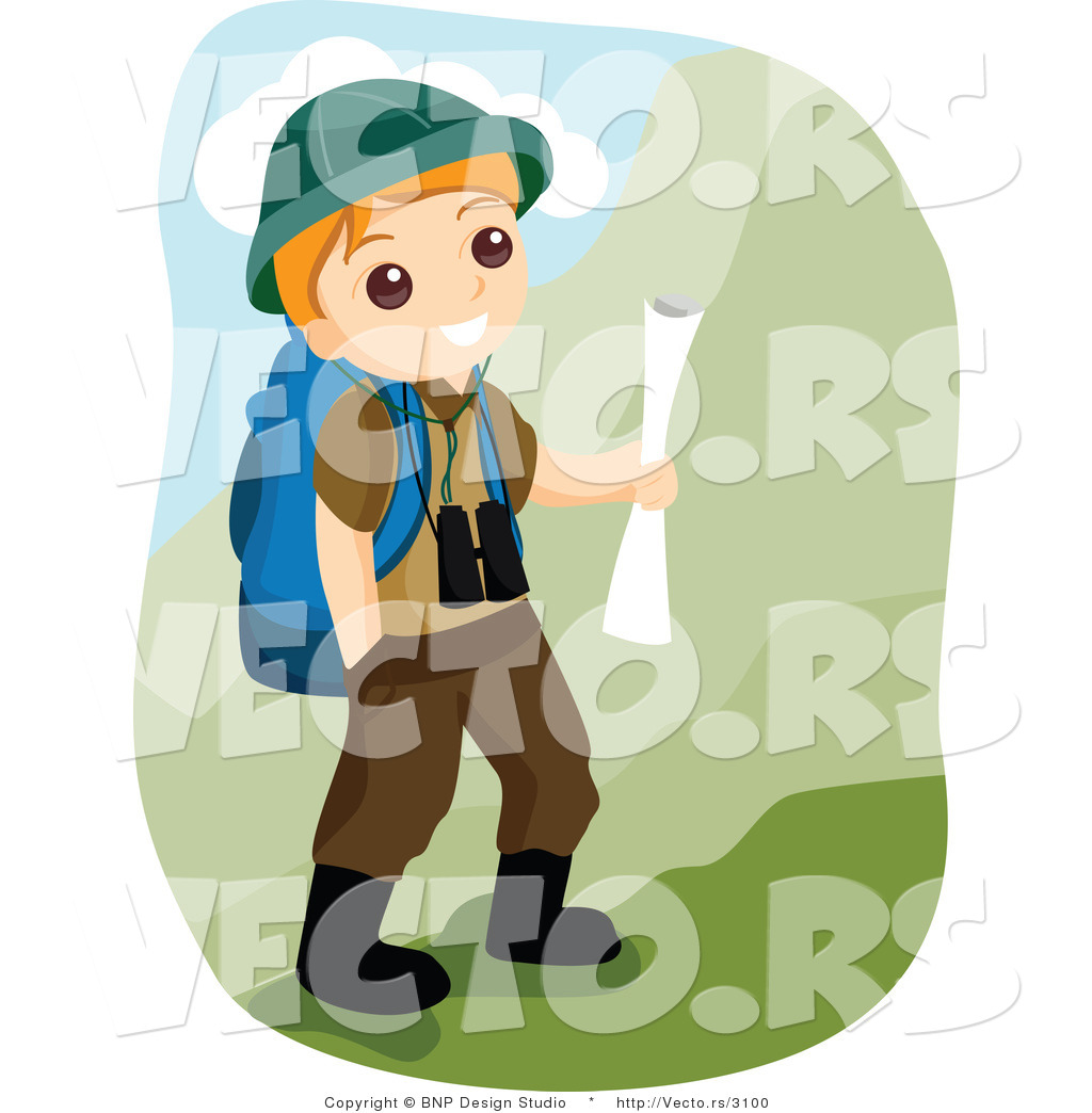 1024x1044 Vector Of Happy Boy Scout Hiking In The Mountains By Bnp Design