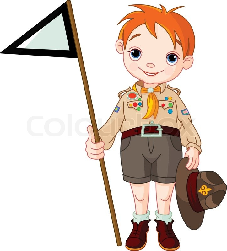 723x800 Young Happy Boy Scout Girl Gives A Salute Stock Vector Colourbox